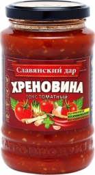 Характеристрики и размер товара Соус Славянский дар Хреновина томатный, 480 г