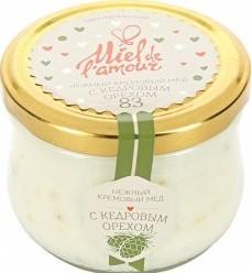 Характеристрики и размер товара Мёд Miel de lamour кремовый цветочный с кедровым орехом 250г