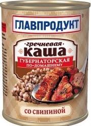 Характеристрики и размер товара Каша Главпродукт гречневая со свининой 340г