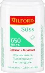Характеристрики и размер товара Подсластитель Milford Suss 650 таблеток