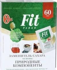 Характеристрики и размер товара Заменитель сахара Fit Parad 60*1г