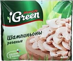 Характеристрики и размер товара Шампиньоны Морозко Green резаные замороженные, 400г