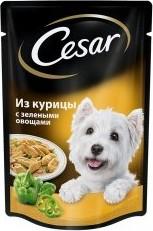 Характеристрики и размер товара Корм для взрослых собак Cesar всех пород из курицы с зелеными овощами, 100г