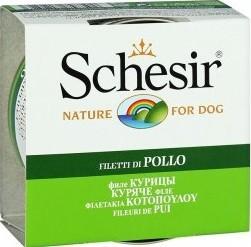 Характеристрики и размер товара Корм Schesir для собак, Куриное филе, 150г ж/б