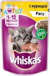Характеристрики и размер товара Корм для котят Whiskas 1-12 месяцев Рагу с курицей 85г