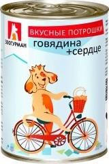 Характеристрики и размер товара Корм для собак Зоогурман вкусные потрошки говядина+сердце, 350г ж/б