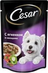 Характеристрики и размер товара Корм для взрослых собак Cesar всех пород с ягненком и овощами 100г