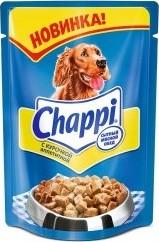 Характеристрики и размер товара Корм для взрослых собак Chappi с курочкой аппетитной, 100г