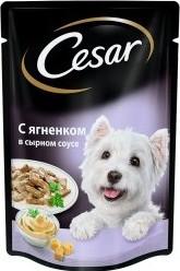Характеристрики и размер товара Корм для собак Cesar ягненок в сырном соусе 100г