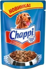 Характеристрики и размер товара Корм для взрослых собак Chappi с говядиной по-домашнему, 100г