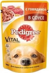 Характеристрики и размер товара Корм для собак Pedigree всех пород с говядиной 100г