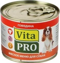 Характеристрики и размер товара Корм для взрослых собак Vita PRO с говядиной 200г ж/б