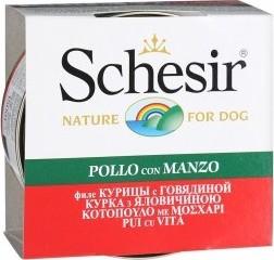 Характеристрики и размер товара Корм Schesir для собак, Куриное филе с говядиной, 150г ж/б