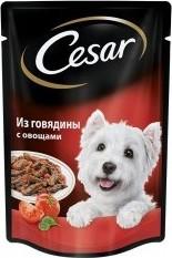 Характеристрики и размер товара Корм для взрослых собак Cesar всех пород из говядины с овощами, 100г