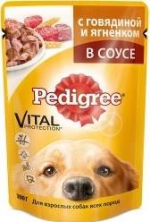 Характеристрики и размер товара Корм для собак Pedigree с говядиной и ягненком 100г