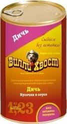 Характеристрики и размер товара Корм для собак Вилли Хвост дичь, 1230г