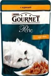 Характеристрики и размер товара Корм для кошек Gourmet Perle мини-филе с курицей 85г