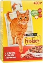 Характеристрики и размер товара Сухой корм для кошек Friskies с мясом, курицей и печенью 400г