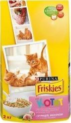 Характеристрики и размер товара Сухой корм для котят Friskies с курицей, молоком и полезными овощами 2кг