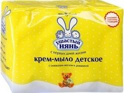 Характеристрики и размер товара Крем-мыло Ушастый нянь детское с оливковым маслом и экстрактом ромашки, 4шт по 100г