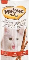 Характеристрики и размер товара Лакомые палочки Мнямс для кошек с говядиной и печенью 13,5см 3*5г