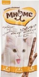 Характеристрики и размер товара Лакомые палочки для кошек Мнямс с цыпленком и уткой 13,5см 3*5г