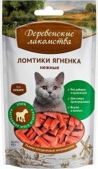 Характеристрики и размер товара Лакомство для кошек Деревенские лакомства ломтики ягненка нежные 45г