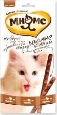 Характеристрики и размер товара Лакомые палочки для кошек Мнямс с индейкой и ягненком 13,5см 3*5г