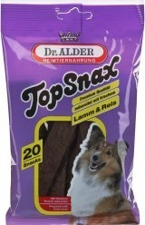 Характеристрики и размер товара Лакомство для собак Dr.Alder TopSnax мясные полоски с ягненком и рисом 200г