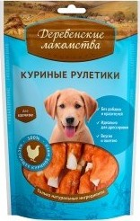 Характеристрики и размер товара Лакомство для щенков Деревенские лакомства куриные рулетики 90г