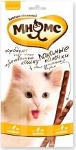 Характеристрики и размер товара Лакомые палочки для кошек Мнямс с цыпленком и печенью 13,5см 3*5г