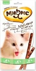 Характеристрики и размер товара Лакомые палочки для кошек Мнямс с уткой и кроликом 13,5см 3*5г