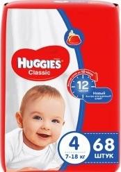 Характеристрики и размер товара Подгузники Huggies Classic 4 (7-18кг), 68шт