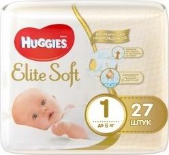 Характеристрики и размер товара Подгузники Huggies Elite Soft 1 (до 5кг), 27шт