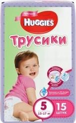 Характеристрики и размер товара Трусики-подгузники Huggies 5 для девочек (13-17кг) 15 шт