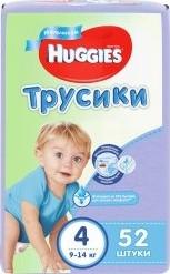 Характеристрики и размер товара Трусики Huggies 4 для мальчиков (9-14кг), 52шт