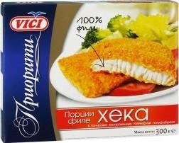 Характеристрики и размер товара Филе Vici хека порции в панировке замороженные, 300г