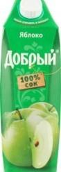 Характеристрики и размер товара Сок яблочный осветленный Добрый т/п 1л