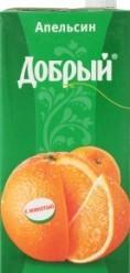 Характеристрики и размер товара Нектар апельсиновый с мякотью Добрый т/п 2л