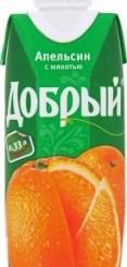Характеристрики и размер товара Нектар апельсиновый с мякотью Добрый т/п 0.33л