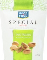 Характеристрики и размер товара Фисташки Good Food Special Editions жареные соленые в скорлупе, 150 г