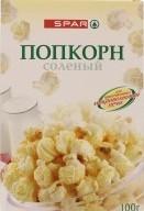 Характеристрики и размер товара Попкорн соленый для СВЧ SPAR к/у 100г