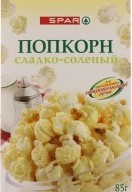 Характеристрики и размер товара Попкорн сладко-соленый для СВЧ SPAR к/у 85г