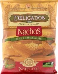 Характеристрики и размер товара Чипсы кукурузные Delicados Nachos Оригинальные, 150 г