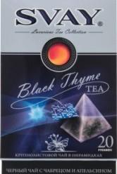 Характеристрики и размер товара Чай Svay Black Thyme черный байховый крупнолистовой с чабрецом и апельсином 20пак, упак