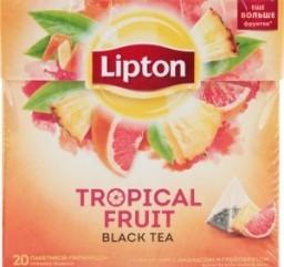 Характеристрики и размер товара Чай Lipton Tropical Fruit черный с ананасом и грейпфрутом 20пак, упак