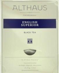 Характеристрики и размер товара Чай Althaus English Superior черный 15пак, упак