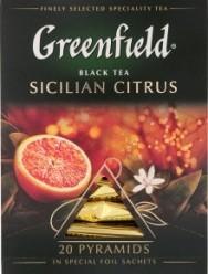 Характеристрики и размер товара Чай Greenfield Sicilian Citrus черный с ароматом апельсина 20пак, упак