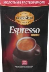 Характеристрики и размер товара Кофе Московская кофейня на паяхъ Espresso Premium растворимый с содержанием натурального молотого, 95 г
