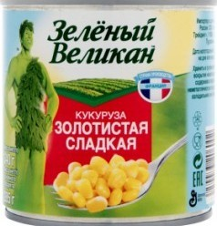 Характеристрики и размер товара Консервированная кукуруза Зеленый великан Золотистая сладкая, 340 г